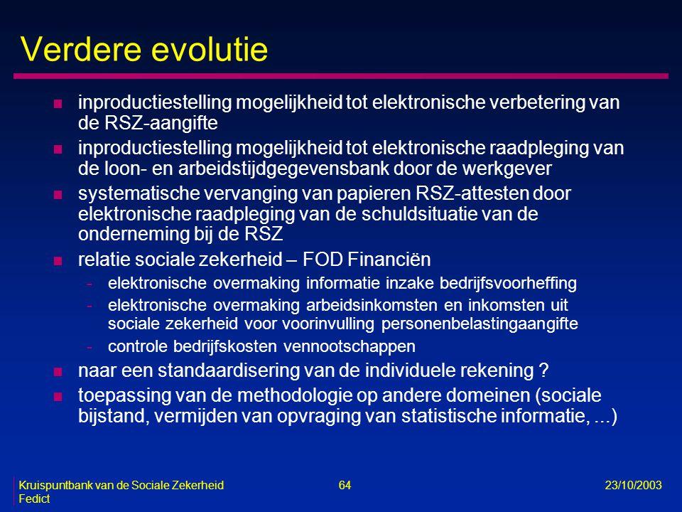 Verdere evolutie inproductiestelling mogelijkheid tot elektronische verbetering van de RSZ-aangifte.