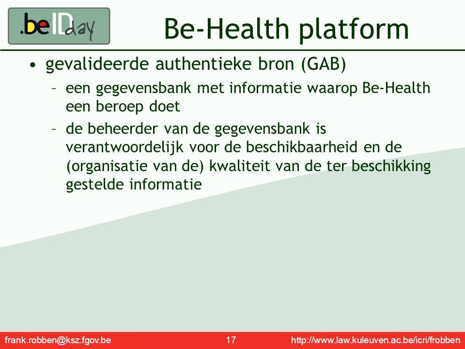 Be-Health platform gevalideerde authentieke bron (GAB)