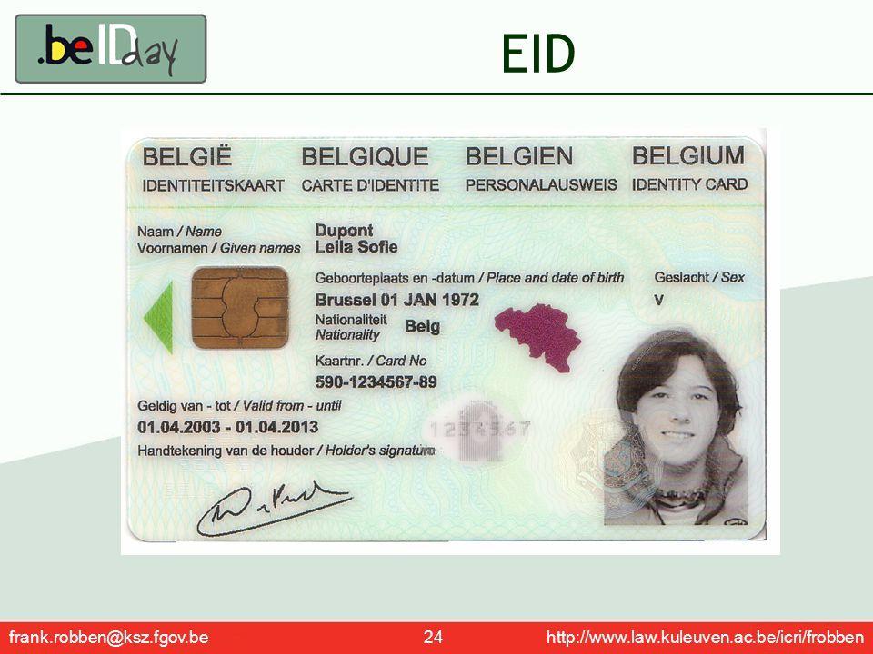 EID frank.robben@ksz.fgov.be 24 http://www.law.kuleuven.ac.be/icri/frobben