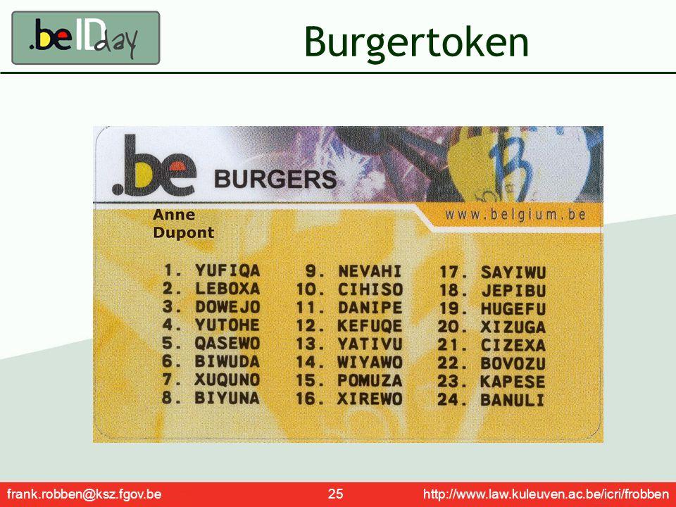 Burgertoken frank.robben@ksz.fgov.be 25 http://www.law.kuleuven.ac.be/icri/frobben.