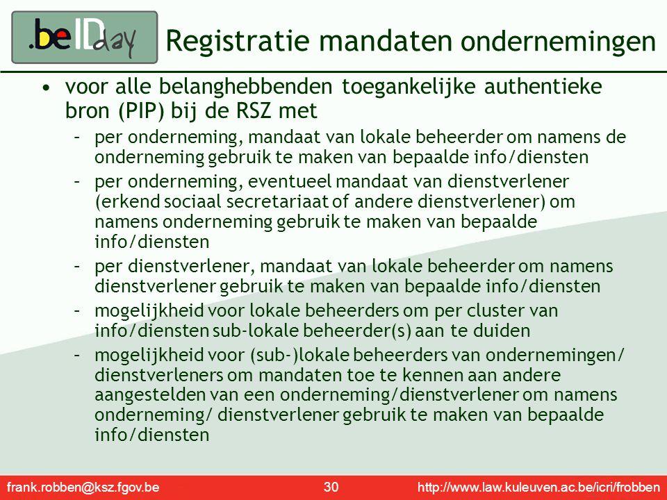 Registratie mandaten ondernemingen