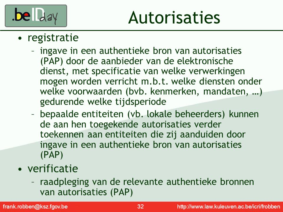 Autorisaties registratie verificatie