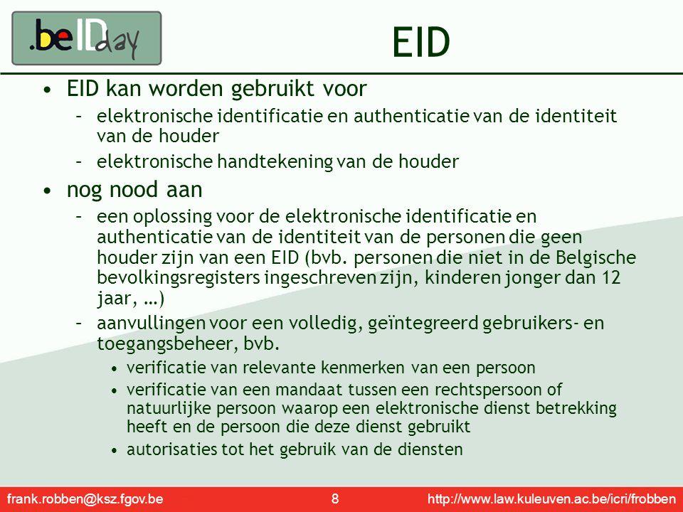 EID EID kan worden gebruikt voor nog nood aan
