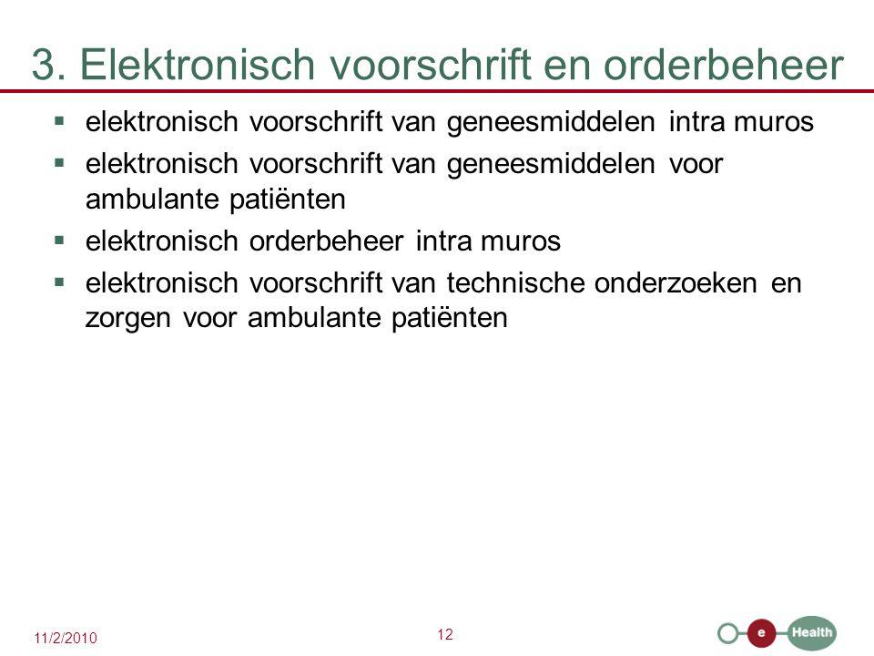 3. Elektronisch voorschrift en orderbeheer