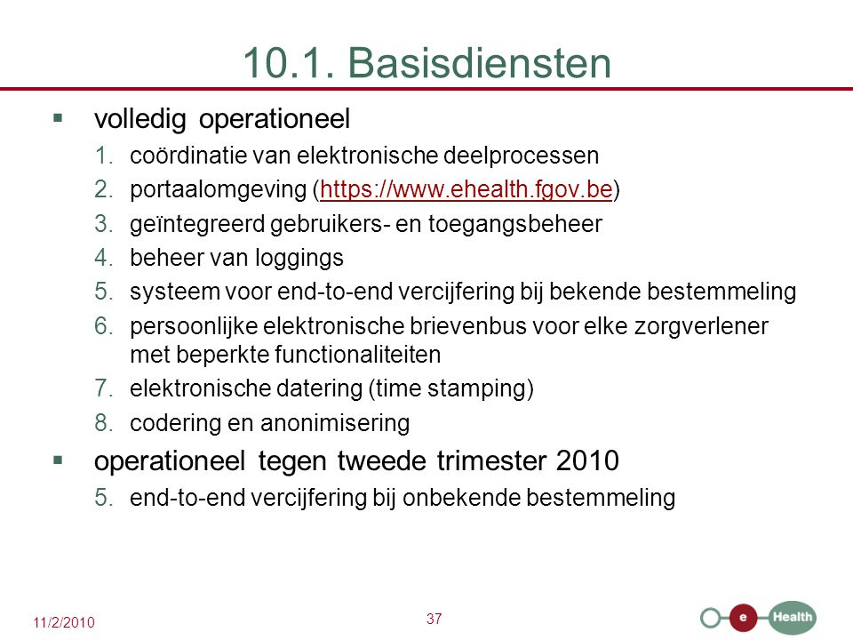 10.1. Basisdiensten volledig operationeel