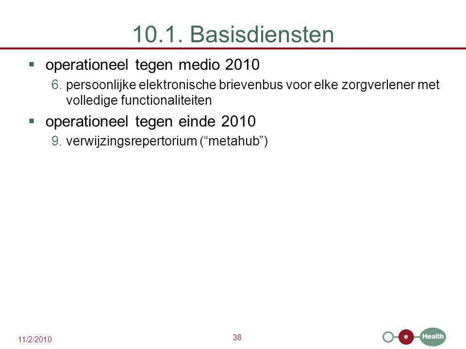 10.1. Basisdiensten operationeel tegen medio 2010