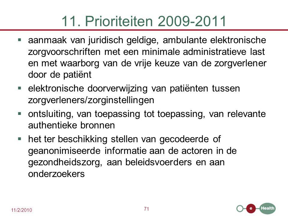 11. Prioriteiten 2009-2011