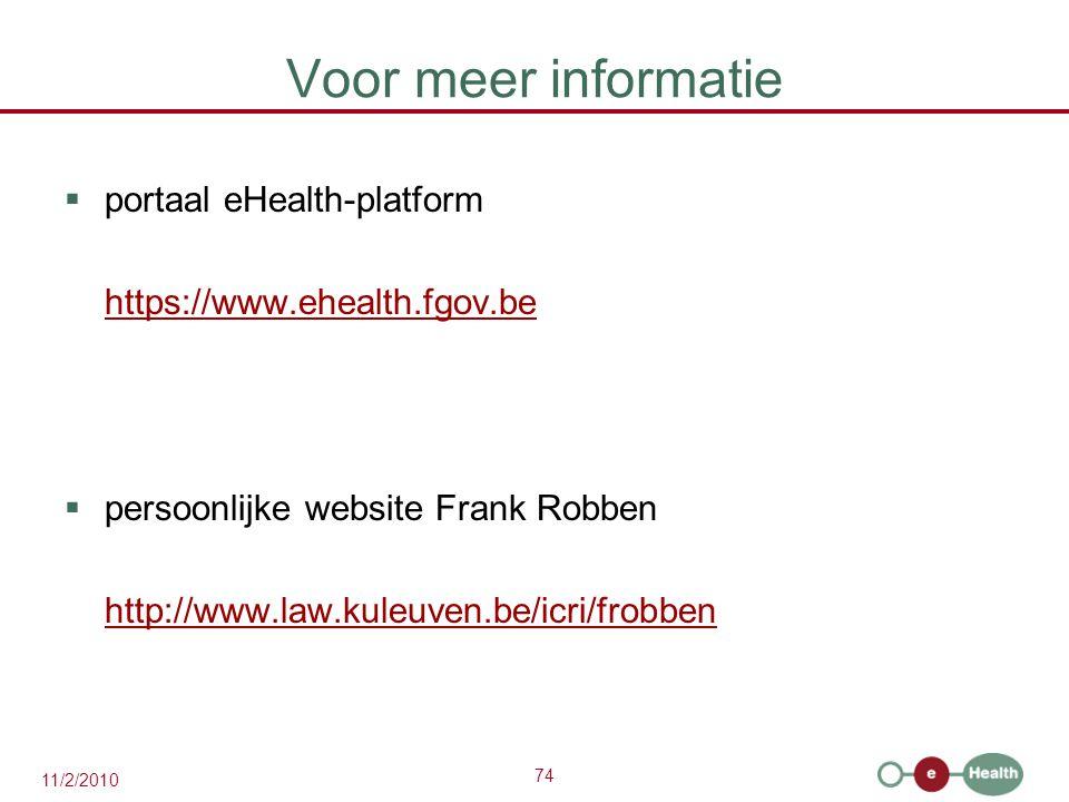 Voor meer informatie portaal eHealth-platform