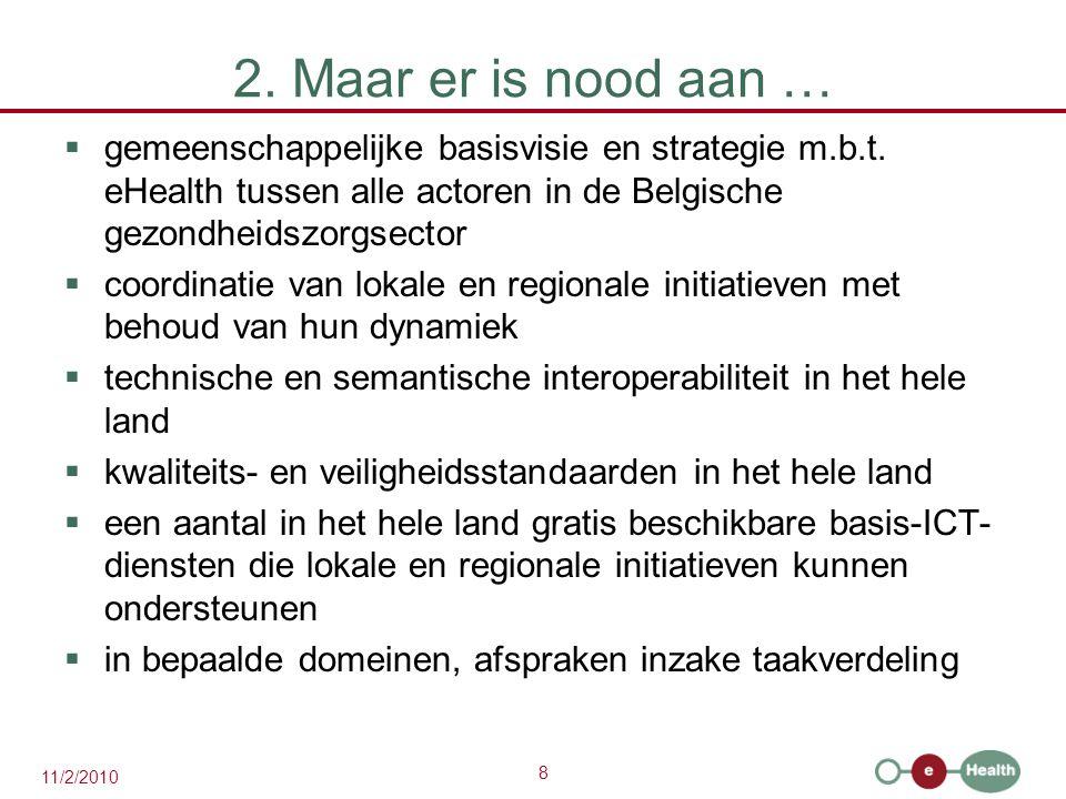 2. Maar er is nood aan … gemeenschappelijke basisvisie en strategie m.b.t. eHealth tussen alle actoren in de Belgische gezondheidszorgsector.