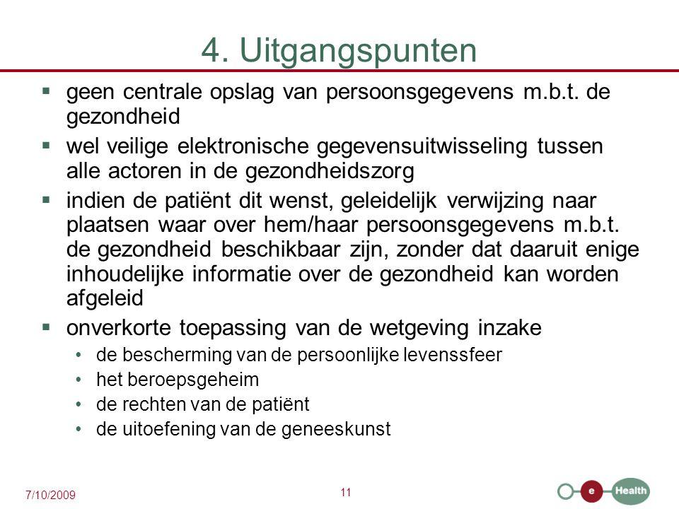 4. Uitgangspunten geen centrale opslag van persoonsgegevens m.b.t. de gezondheid.