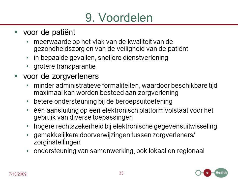 9. Voordelen voor de patiënt voor de zorgverleners