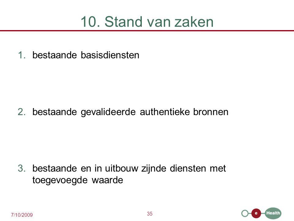 10. Stand van zaken bestaande basisdiensten