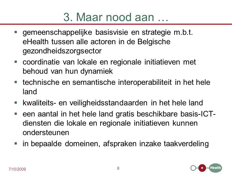 3. Maar nood aan … gemeenschappelijke basisvisie en strategie m.b.t. eHealth tussen alle actoren in de Belgische gezondheidszorgsector.