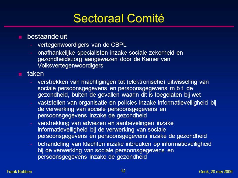 Sectoraal Comité bestaande uit taken vertegenwoordigers van de CBPL