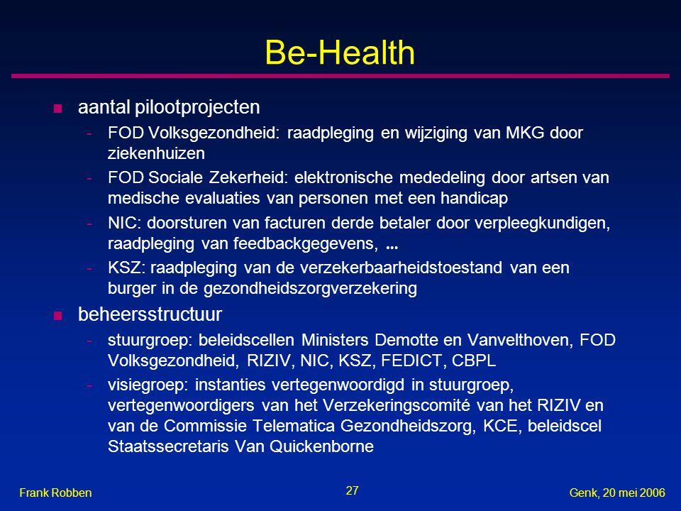 Be-Health aantal pilootprojecten beheersstructuur
