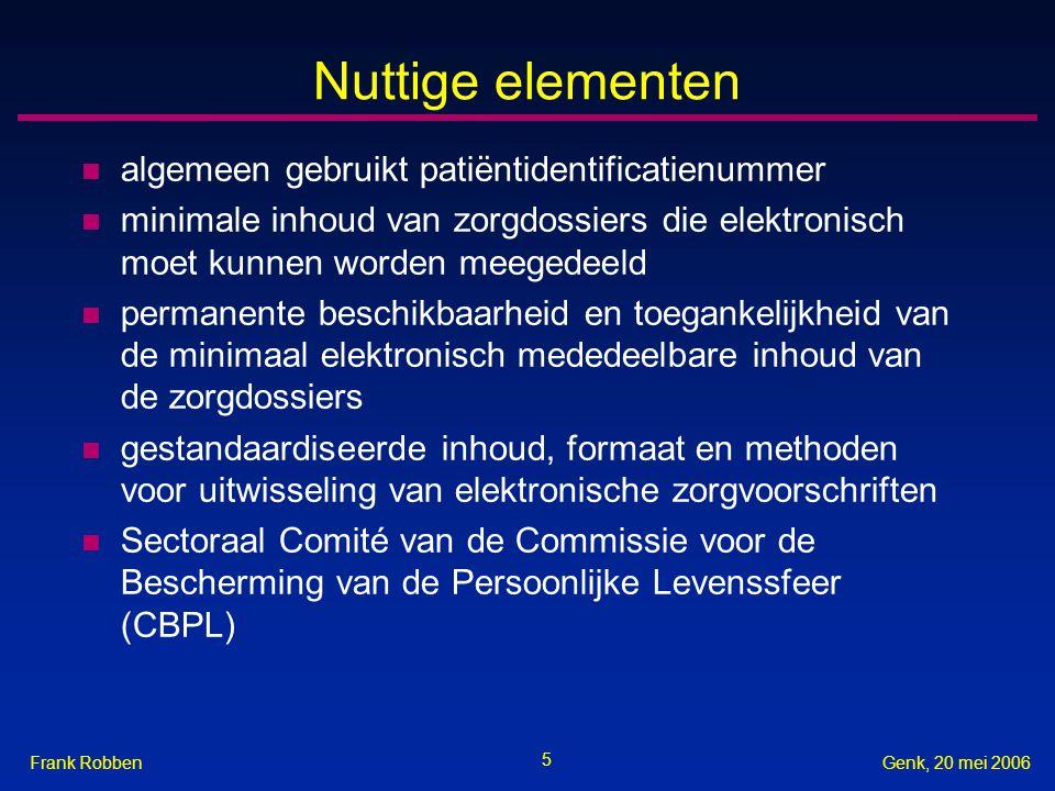 Nuttige elementen algemeen gebruikt patiëntidentificatienummer