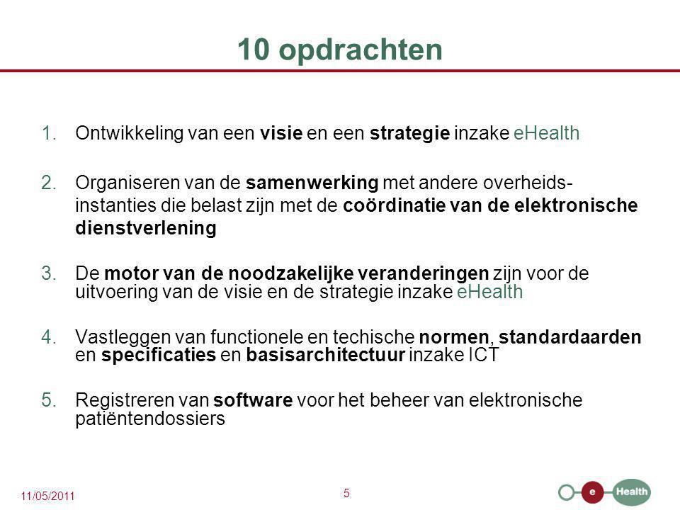10 opdrachten Ontwikkeling van een visie en een strategie inzake eHealth.