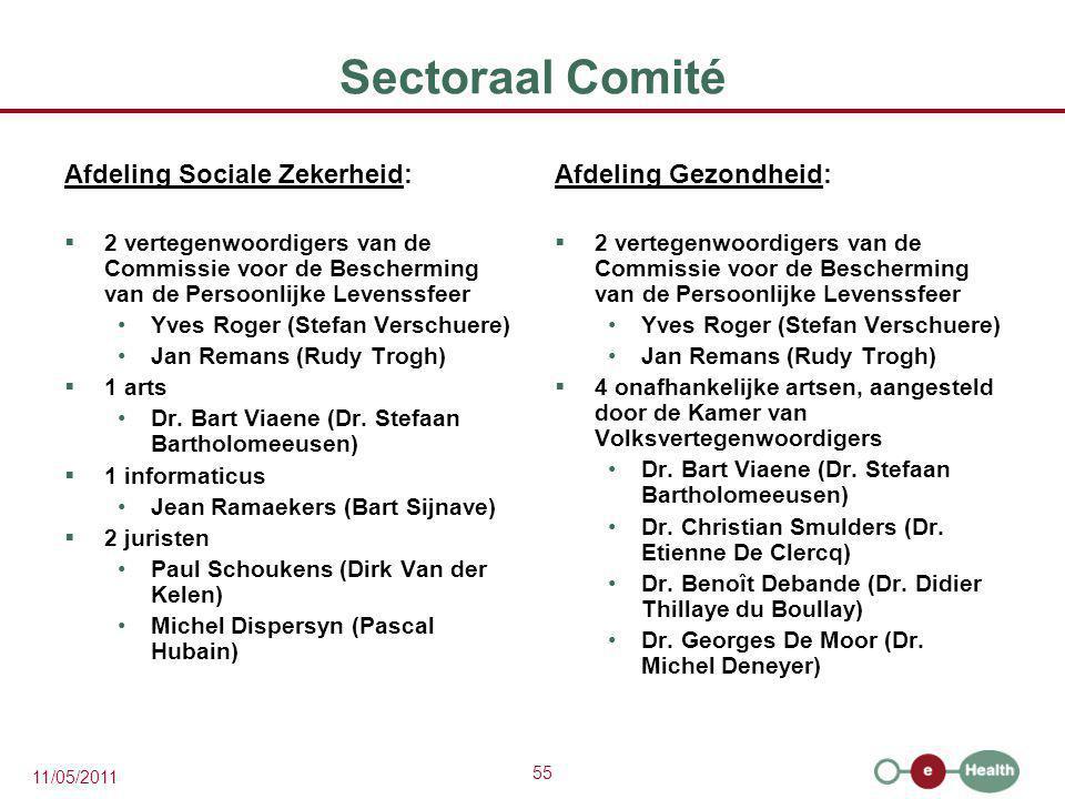 Sectoraal Comité Afdeling Sociale Zekerheid: Afdeling Gezondheid: