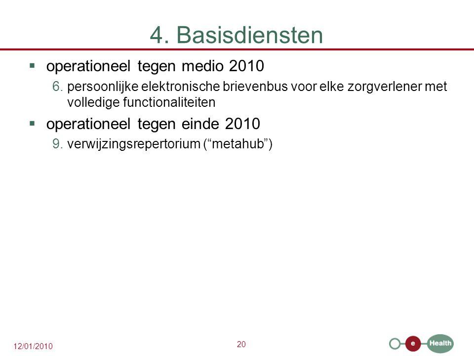 4. Basisdiensten operationeel tegen medio 2010