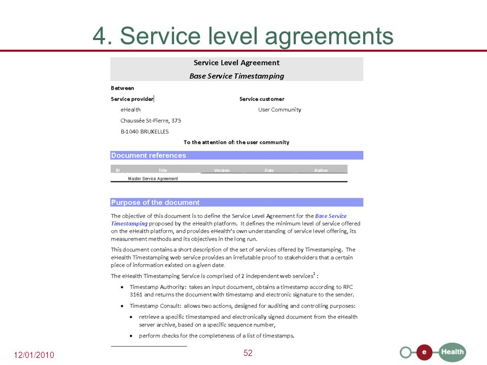 4. Service level agreements