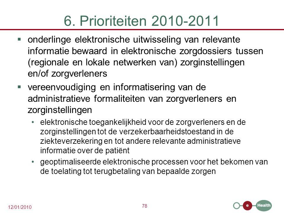 6. Prioriteiten 2010-2011