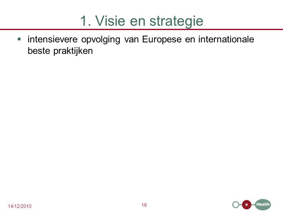 1. Visie en strategie intensievere opvolging van Europese en internationale beste praktijken
