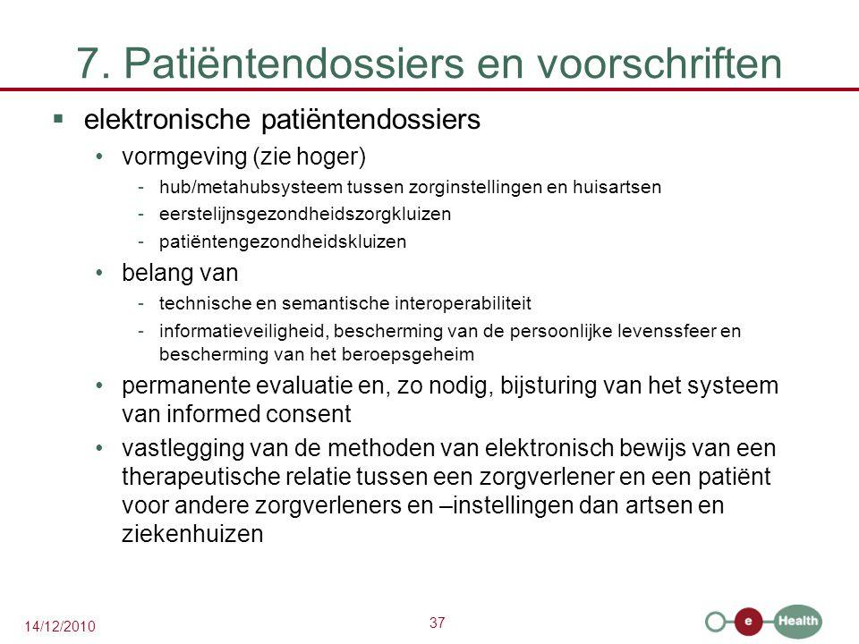 7. Patiëntendossiers en voorschriften