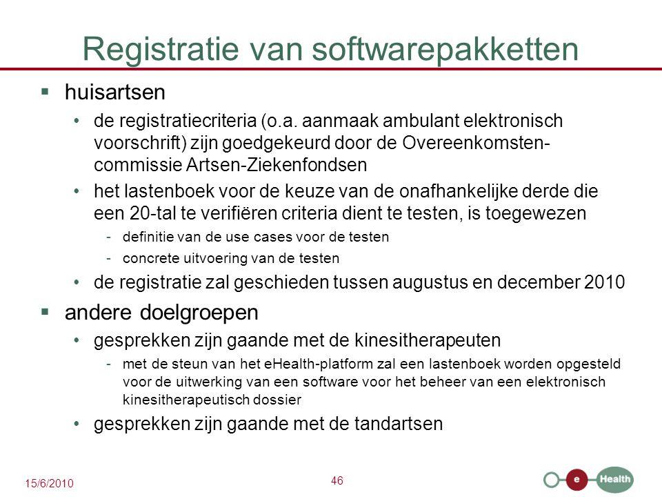Registratie van softwarepakketten