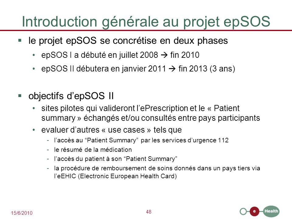 Introduction générale au projet epSOS