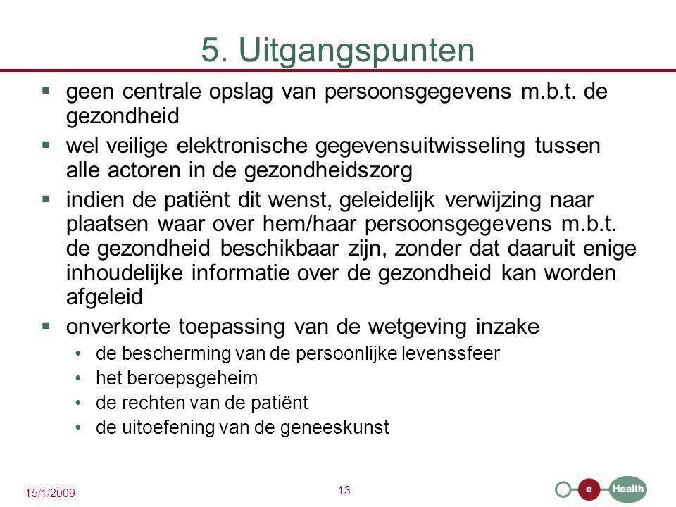 5. Uitgangspunten geen centrale opslag van persoonsgegevens m.b.t. de gezondheid.