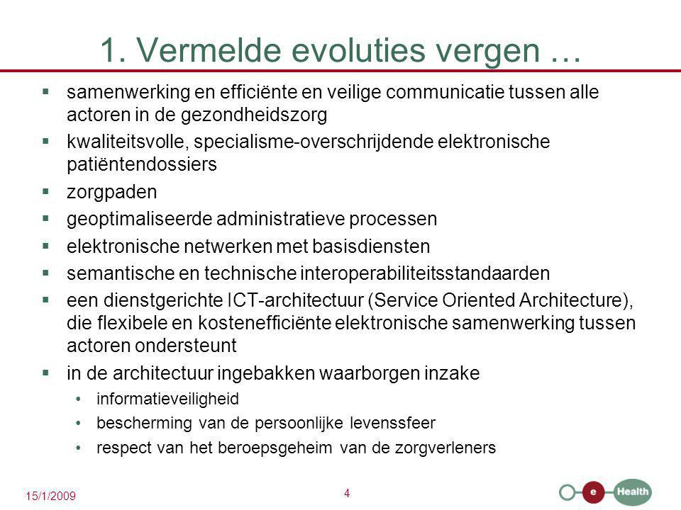 1. Vermelde evoluties vergen …