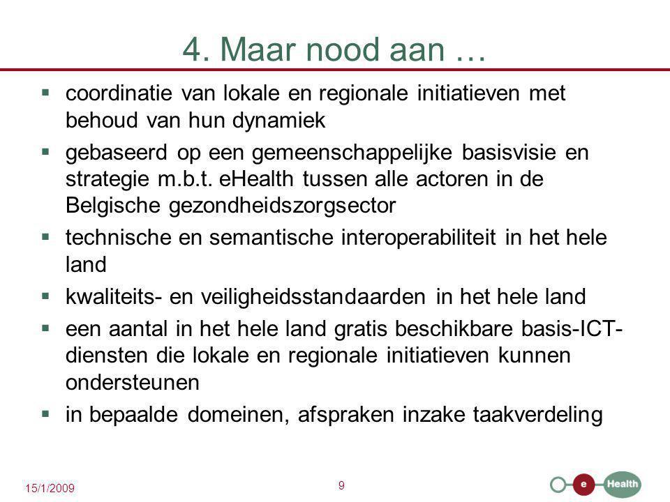 4. Maar nood aan … coordinatie van lokale en regionale initiatieven met behoud van hun dynamiek.