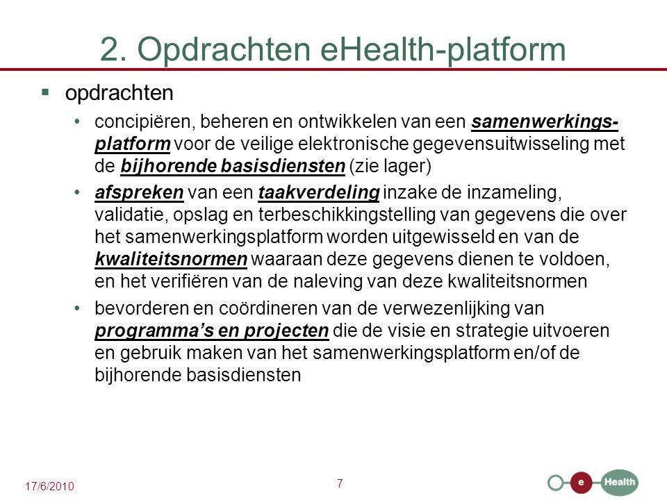 2. Opdrachten eHealth-platform
