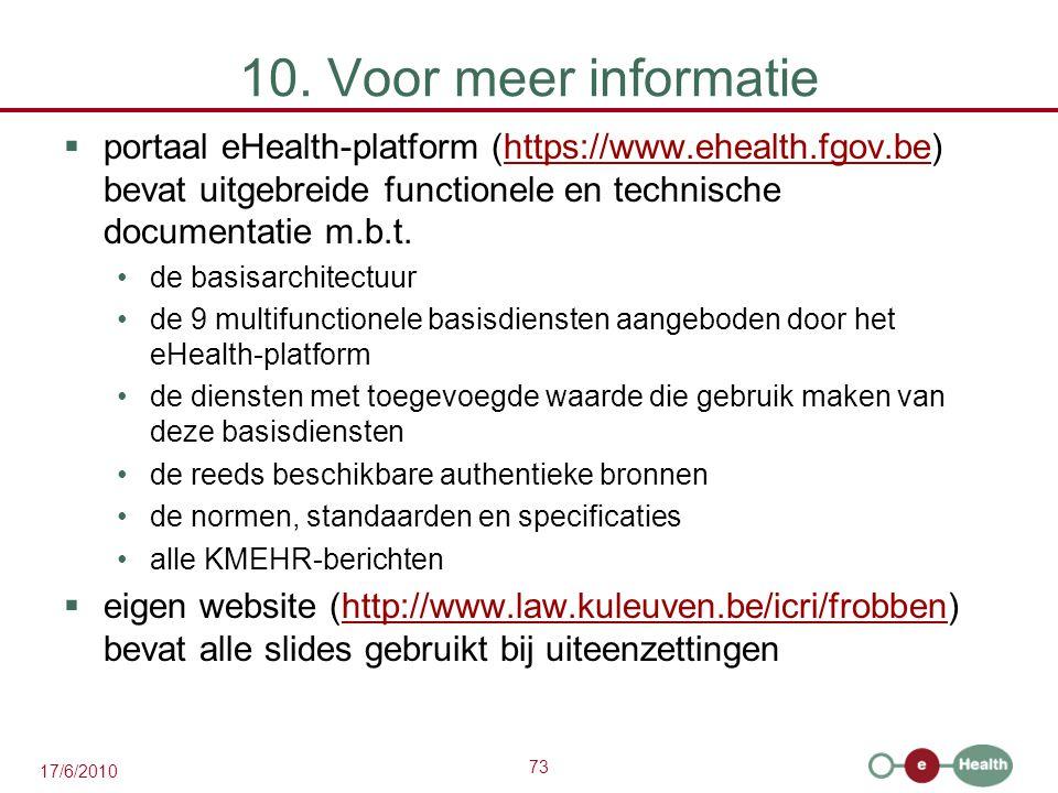 10. Voor meer informatie portaal eHealth-platform (https://www.ehealth.fgov.be) bevat uitgebreide functionele en technische documentatie m.b.t.