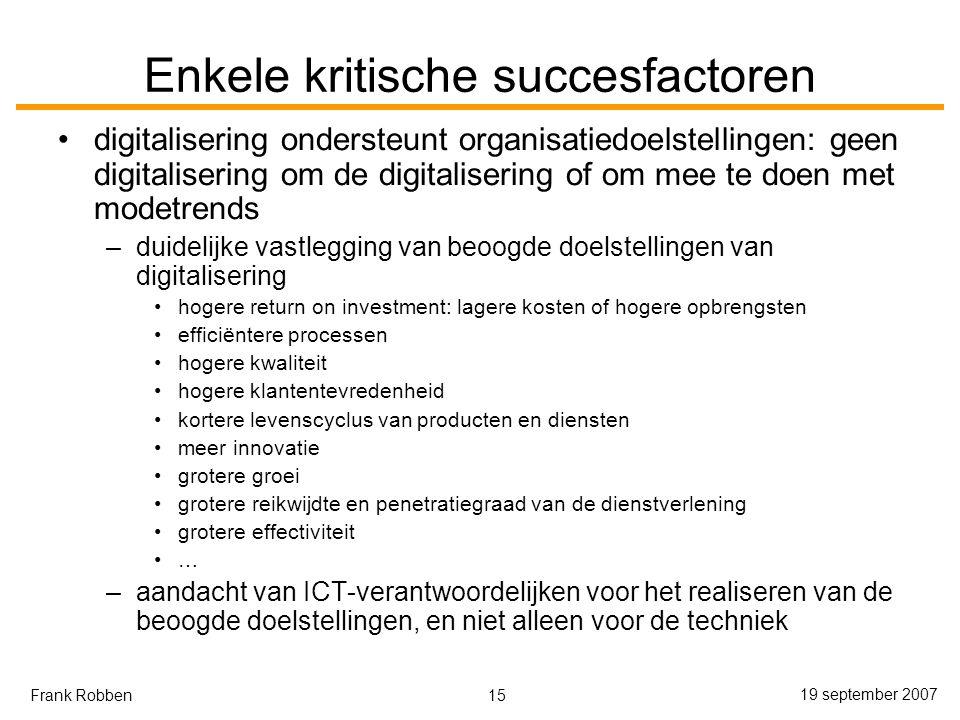 Enkele kritische succesfactoren