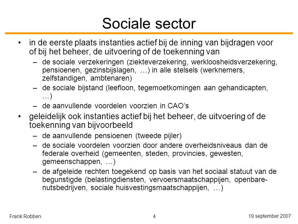 Sociale sector in de eerste plaats instanties actief bij de inning van bijdragen voor of bij het beheer, de uitvoering of de toekenning van.