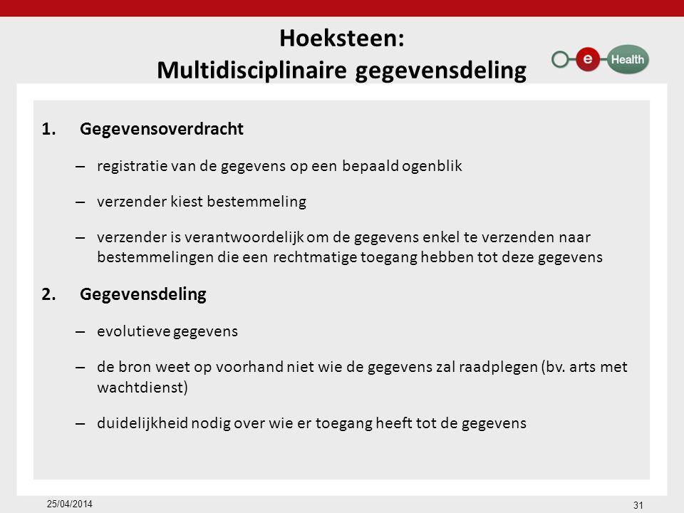 Hoeksteen: Multidisciplinaire gegevensdeling