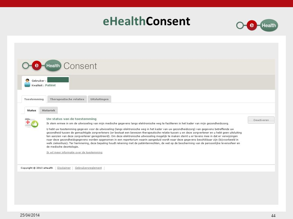 eHealthConsent 25/04/2014