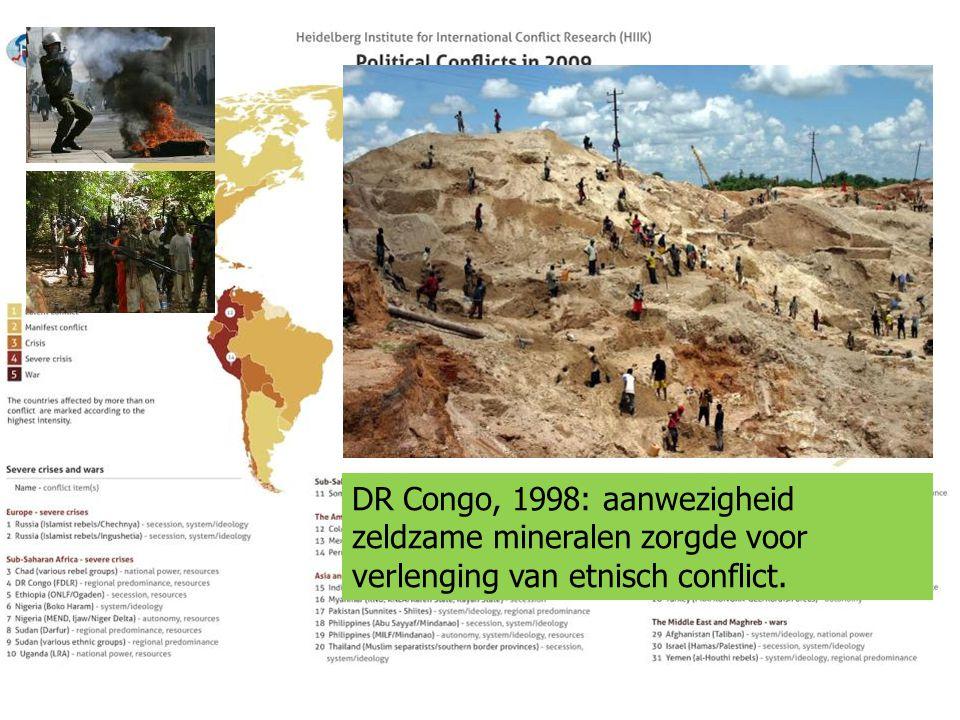 DR Congo, 1998: aanwezigheid zeldzame mineralen zorgde voor verlenging van etnisch conflict.