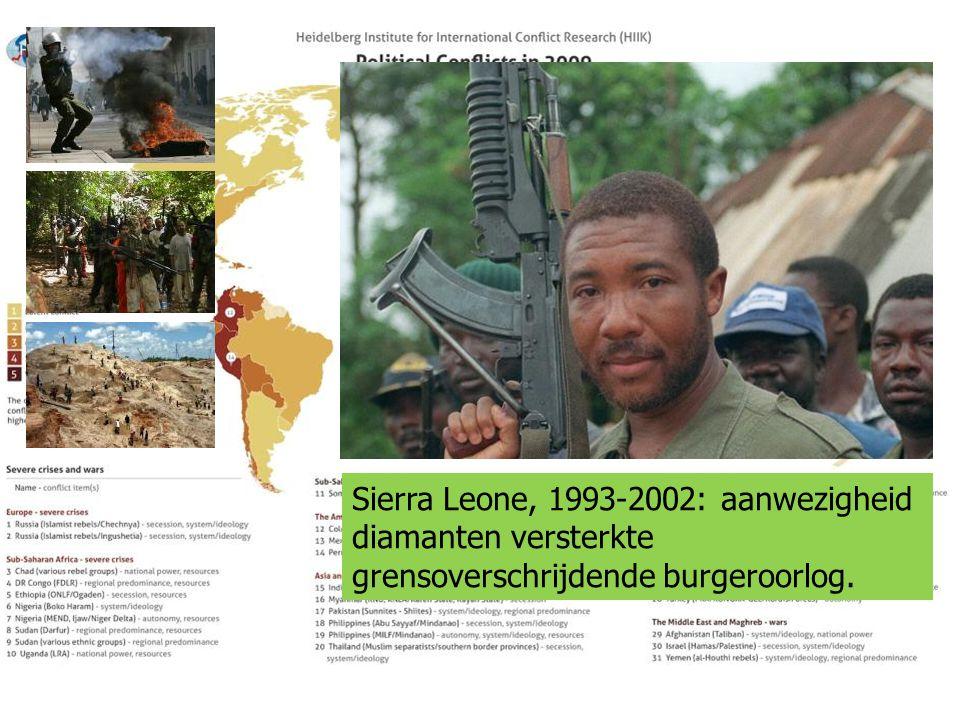 Sierra Leone, 1993-2002: aanwezigheid diamanten versterkte grensoverschrijdende burgeroorlog.