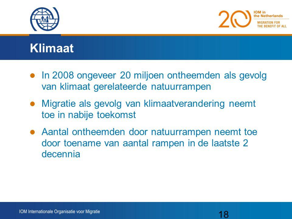 Klimaat In 2008 ongeveer 20 miljoen ontheemden als gevolg van klimaat gerelateerde natuurrampen.