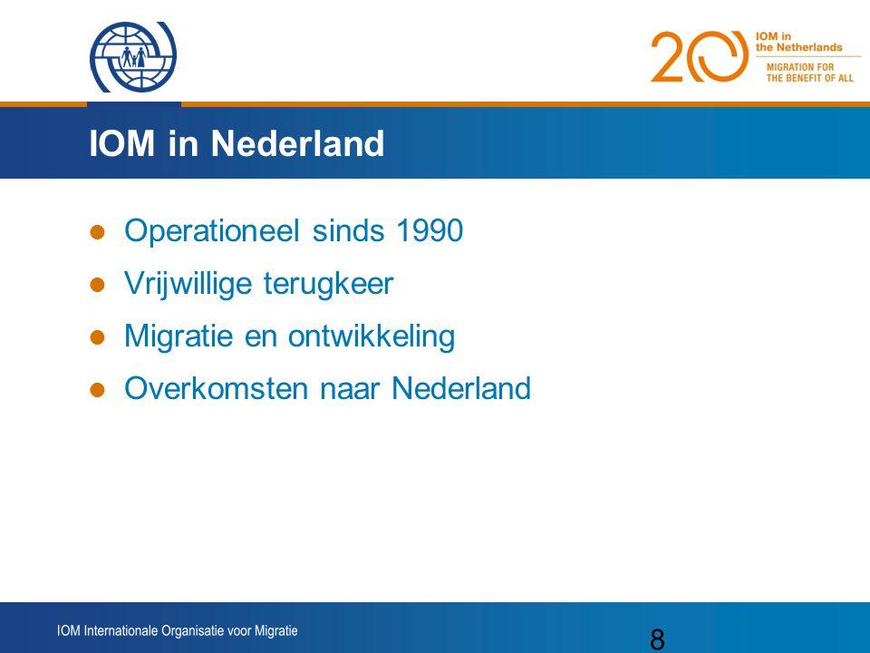 IOM in Nederland Operationeel sinds 1990 Vrijwillige terugkeer