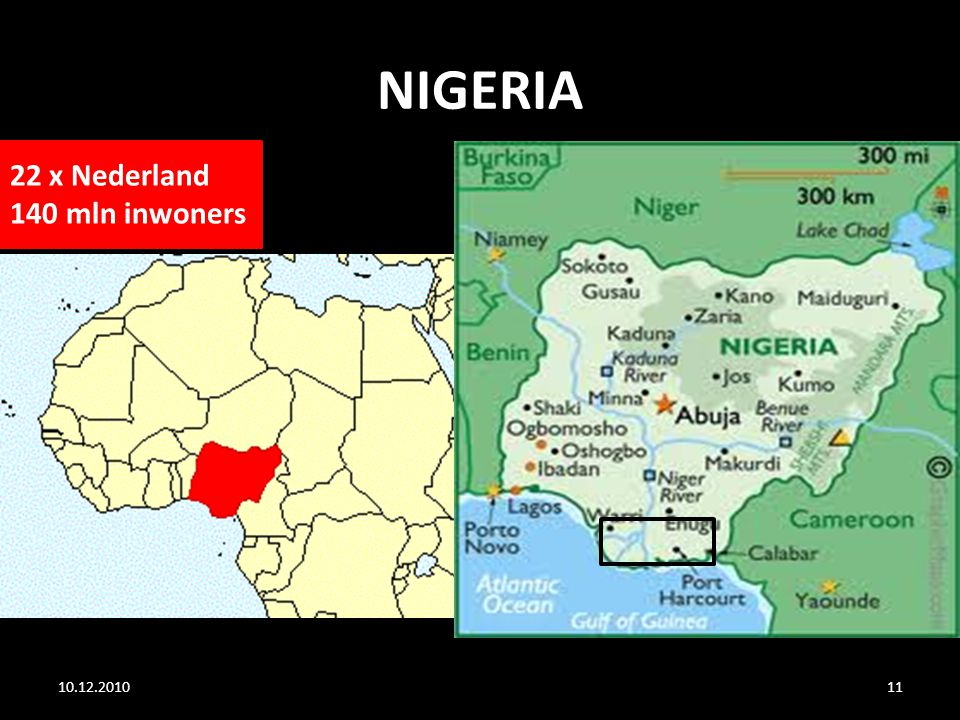 NIGERIA 22 x Nederland 140 mln inwoners 10.12.2010