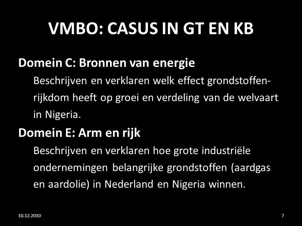 VMBO: CASUS IN GT EN KB Domein C: Bronnen van energie