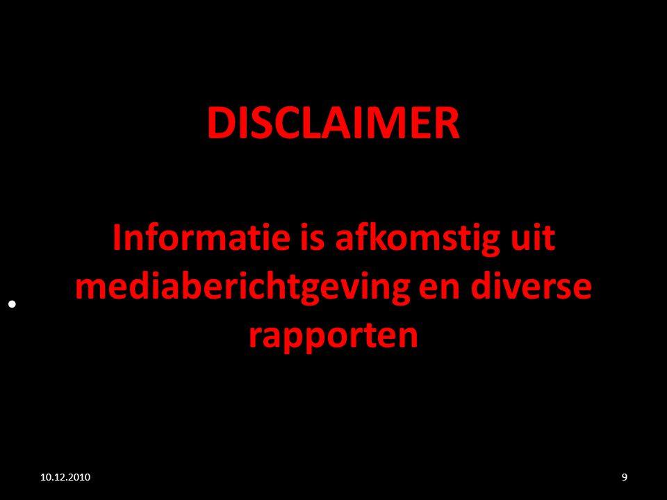 DISCLAIMER Informatie is afkomstig uit mediaberichtgeving en diverse rapporten