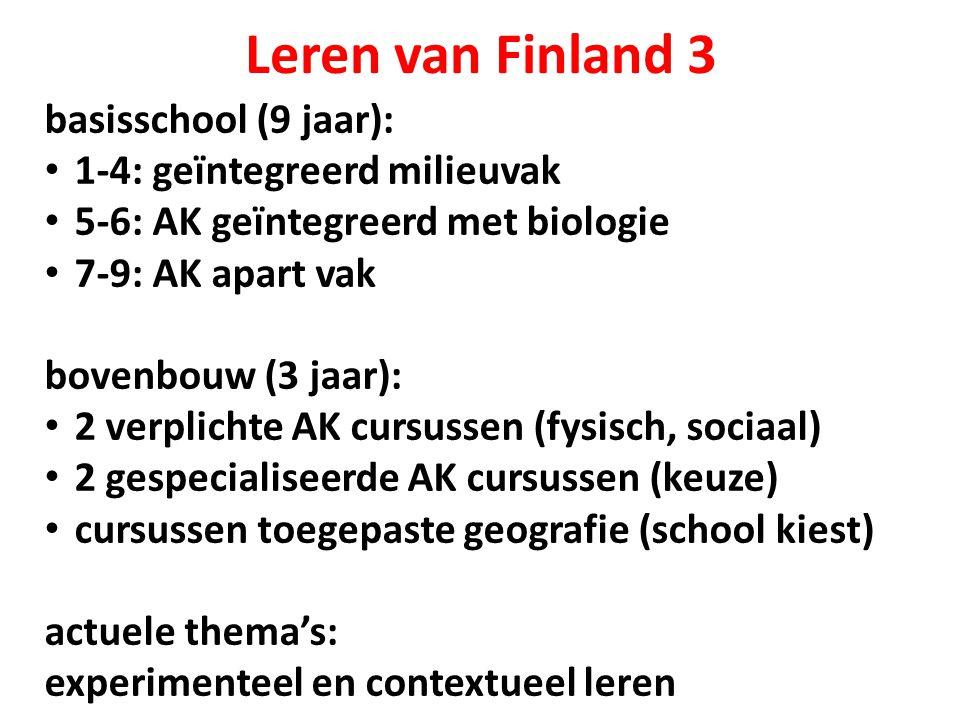 Leren van Finland 3 basisschool (9 jaar): 1-4: geïntegreerd milieuvak