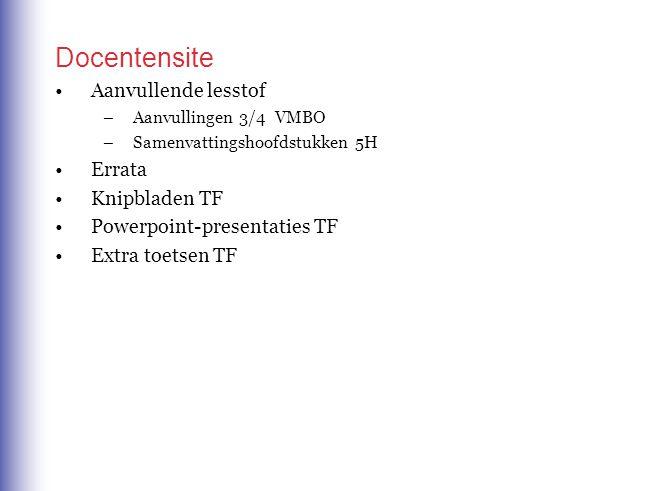 Docentensite Aanvullende lesstof Errata Knipbladen TF