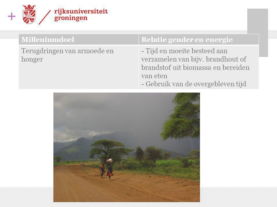 Milleniumdoel Relatie gender en energie. Terugdringen van armoede en honger.