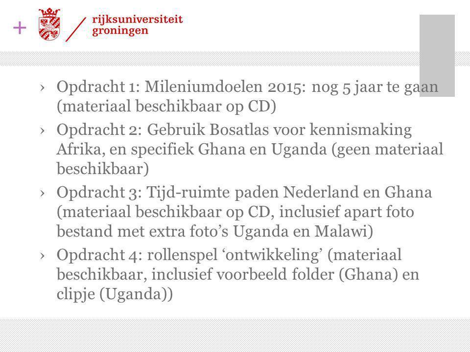 Opdracht 1: Mileniumdoelen 2015: nog 5 jaar te gaan (materiaal beschikbaar op CD)