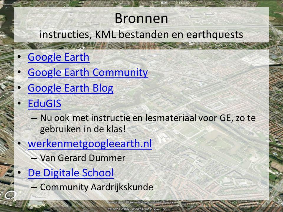 Bronnen instructies, KML bestanden en earthquests